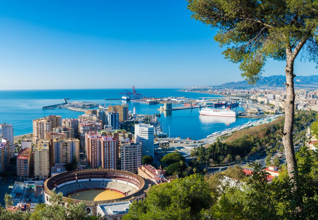 Aerial view of city harbour, Malaga, Spain